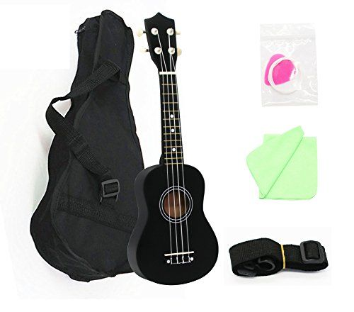 MELODIC Basswood Soprano-Concert Ukulele Hawaii Guitar Strong Wind 21''and 23'' 4 Strings ,Starter Set with Gig Bag,Polishing Cloth, Strings, Picks and Strap (21inch, black)  ✔ Basswood body and neck bring you richer and brighter sound; Rosewood fingerboard and bridge provides a comfortable playing feel  ✔ 12 frets on the hardwood fingerboard, producing different tones for a song.  ✔ The advanced and sturdy nylon strings not only can avoid stroke but also allows for a full-bodied sound...