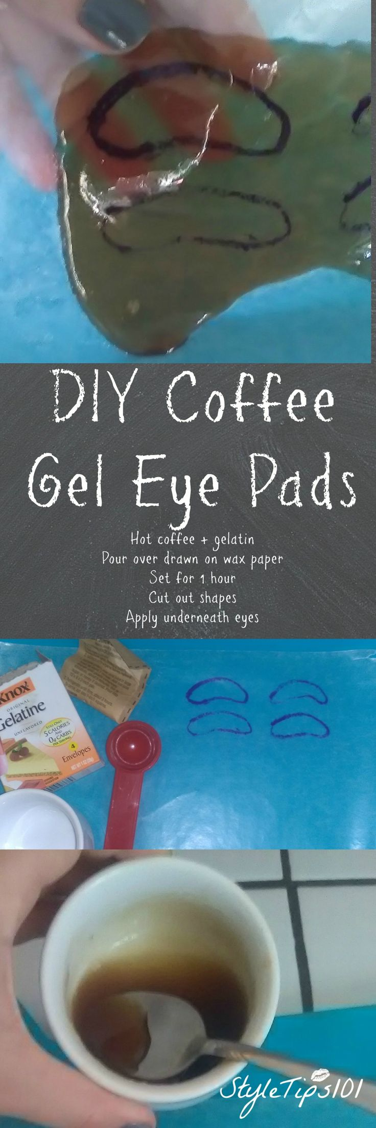 SO easy to make and your dark circles will be gone after just 1 use! Loving this DIY gel eye pads!