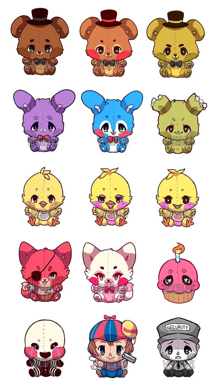 witchpaws: A personal project of mine where I wanted to draw all of the FNAF as cute plushies! Tried to make them as least terrifying as possible :'3c