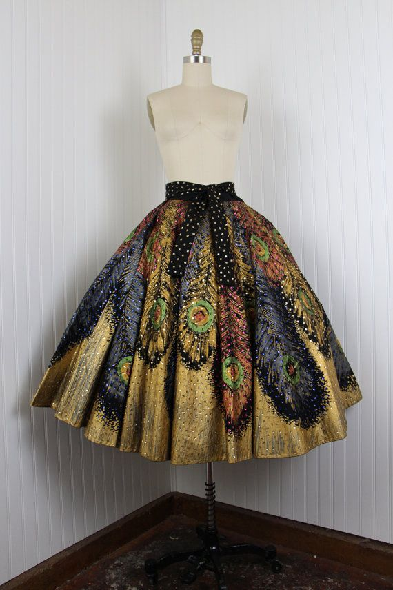 Be still my heart!    1950s Skirt  50s Peacock Feathers Mexican Hand by jumblelaya, $598.00