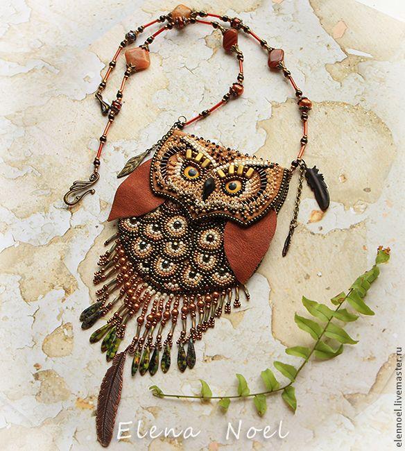 Елена Ноэль (ElenNoel)  Совушка кулон кармашек Вышитая бисером сова с секретом. Handmade.