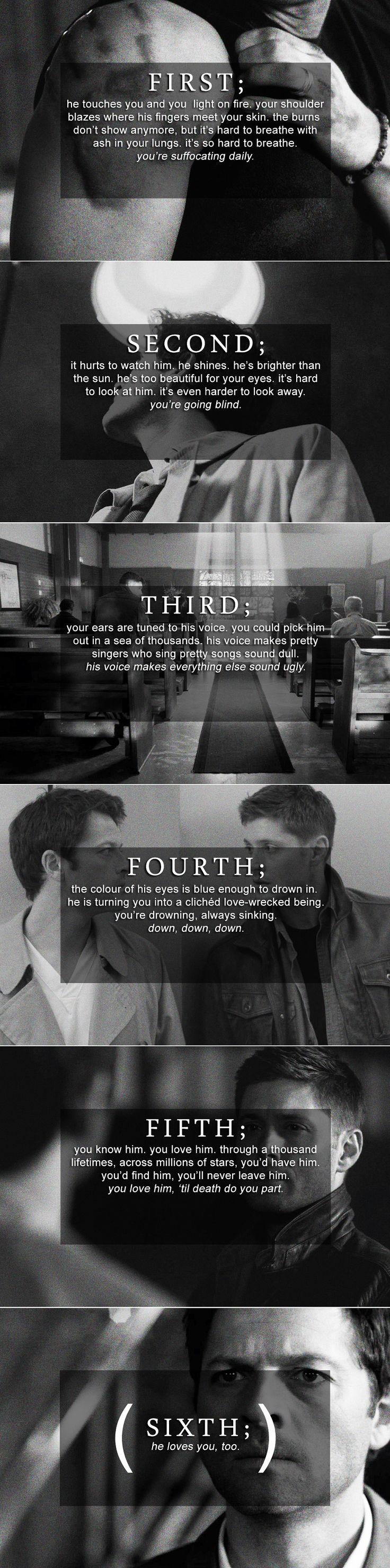 Dean and Castiel: First through sixth #spn #destiel