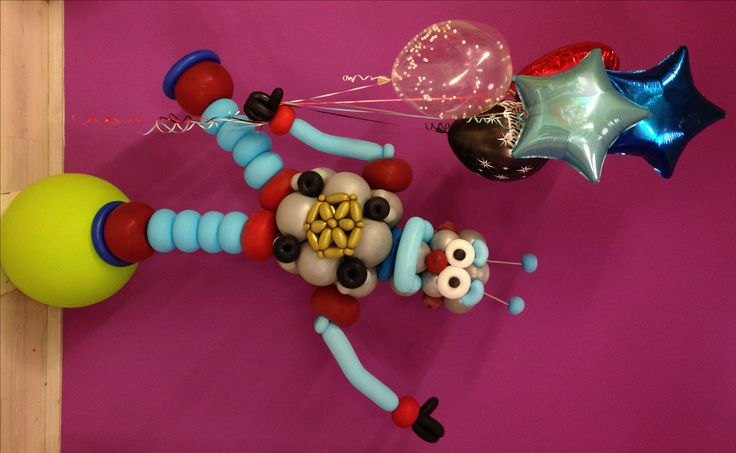 Twisted balloon robot decoration for a birthday boy.