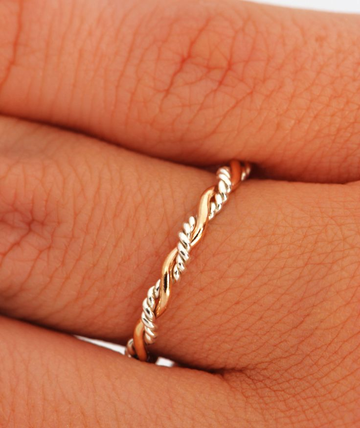 Twist Ring - Stacker Ring - Thumb Ring - Gold Filled - Argentium Sterling Silver - Handmade via Etsy.