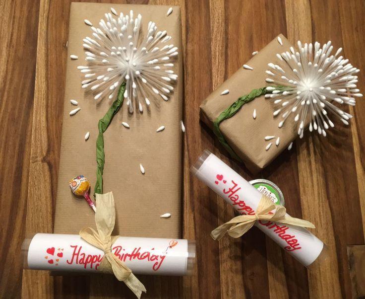 Geschenk verpacken – Pusteblume – Happy Birthday – Bastelidee Geschenk