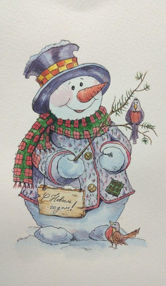 Восемь открытка, снеговик на открытках с новым годом