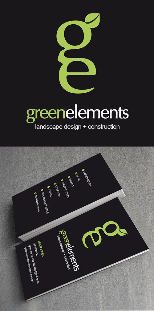 Green Elements Landscaping brand and business card design