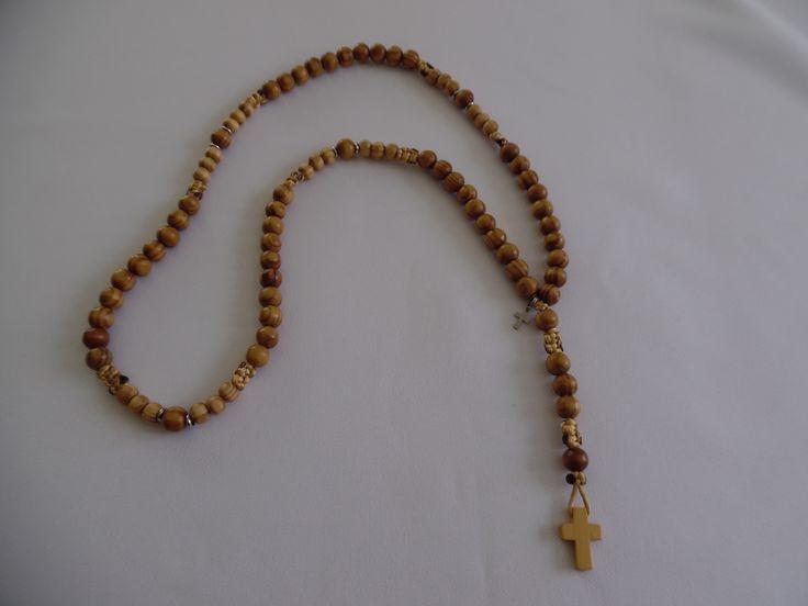 Chapelet catholique café clair, perles en bois de cyprès. : Bijoux pour hommes par crea-039-martine