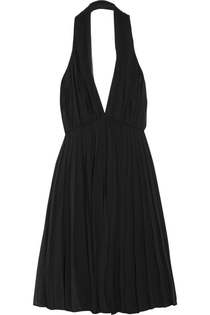 Halston Heritage Pleated chiffon halterneck dress - 75% Off Now at THE OUTNET