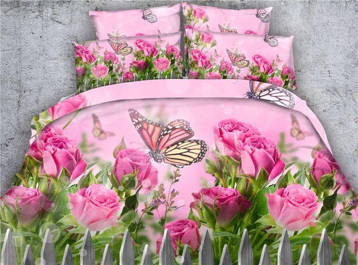 pink rose flower butterfly bedding sets comforter duvet cover bed linens twin full queen king cal king size Girls bedroom decor