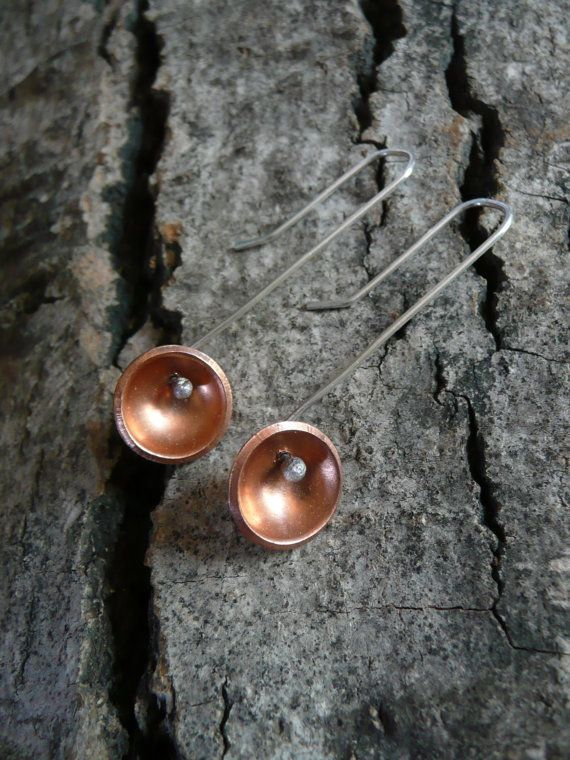 Copper and Sterling Silver Earrings on Etsy