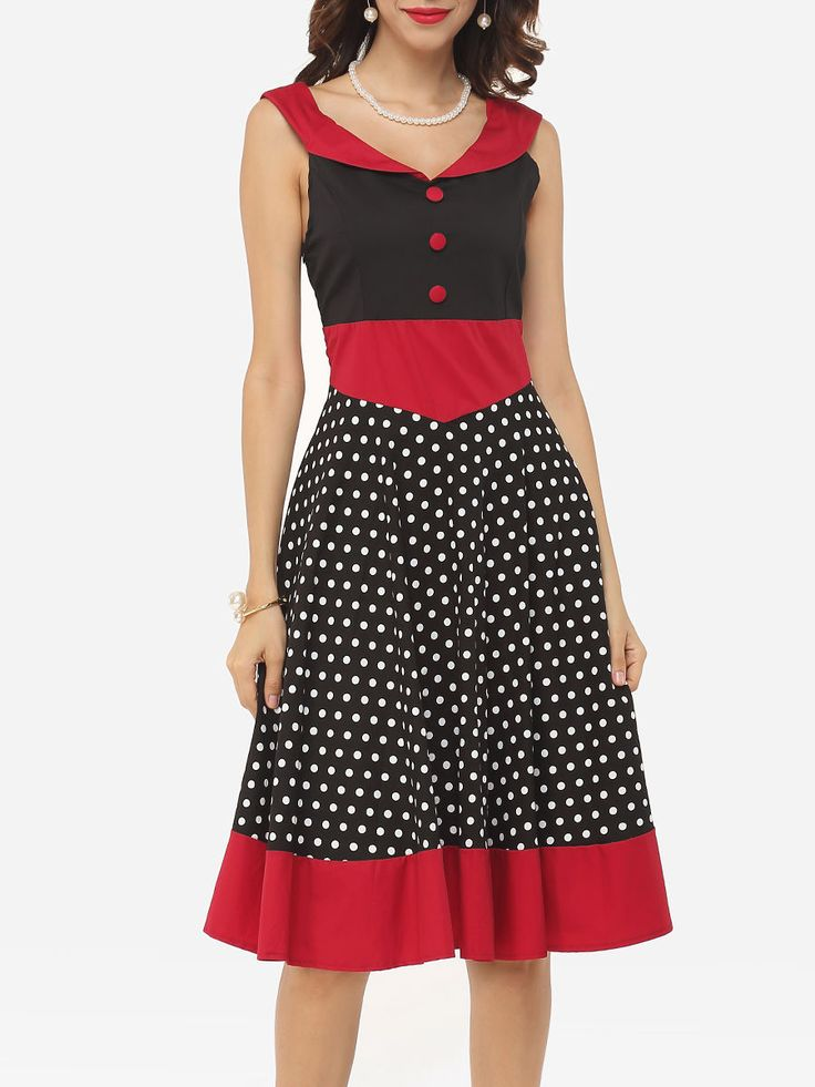 Color Block Polka Dot Decorative Buttons Exquisite V Neck Skater-dress Only $35.95 USD More info...