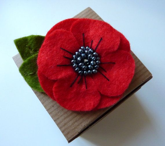 Poppy felt brooch flower brooch by CreatedWithLoveuk on Etsy, £9.00