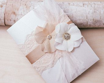 VINTAGE GLAMOUR - Lace Wedding Invitation - customizable - blush and ivory