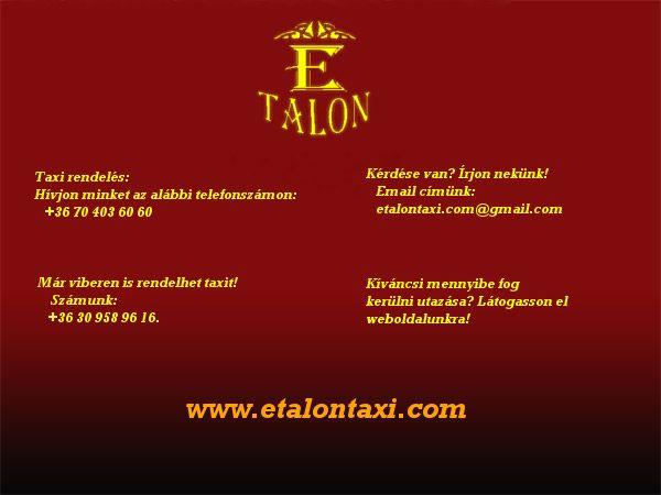 Etalon taxi. Taxi rendelés Budapesten.