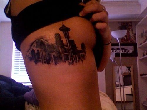 Seattle skyline tattoo - http://99tattoodesigns.com/seattle-skyline-tattoo/