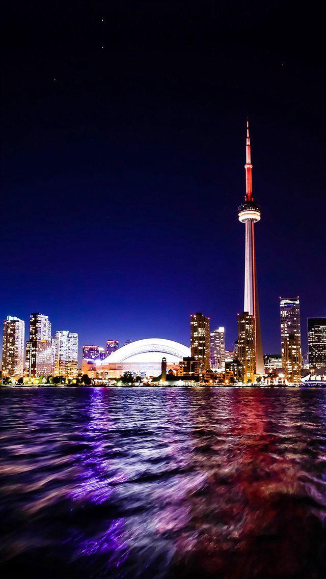 Toronto Lake Canada City Night View Iphone 8 Wallpaper Canada City Travel Canada Travel