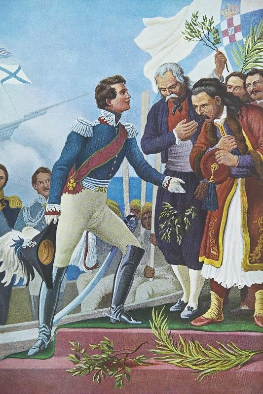 Λεύκωμα : Το Ηρώον του Αγώνος - Η Άφιξις του Βασιλέως Όθωνος.Πρόκειτα ιγια ανατύπωση τετραχρωμίας του Πίνακα του Von Hess με θέμα την άφιξη και αποβίβαση του Όθωνα στο Ναύπλιο στις 25 Ιανουαρίου 1833.Ο γερμανός ζωγράφος Peter Von Hess φιλοτέχνησε κατά το διάστημα 1827-1834, 40 λιθογραφίες με θέματα από την Ελληνική Επανάσταση μετά από ανάθεση από τον φιλέλληνα βασιλιά της Βαυαρίας Λουδοβίκο, πατέρα του Όθωνα .Τα πρωτότυπα ευρίσκονται στην Πινακοθήκη του Μονάχου στη Γερμανία.