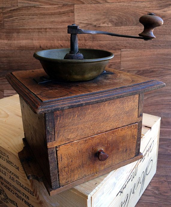 Cottage Chic Antique Coffee Grinder Rustic by RetroRosiesBasement
