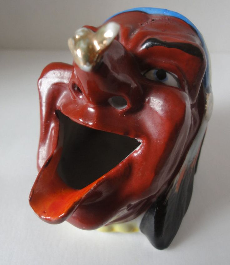 Japan Ceramic Pottery Ashtray Indian Chief With Fly On His Nose Figural Vintage