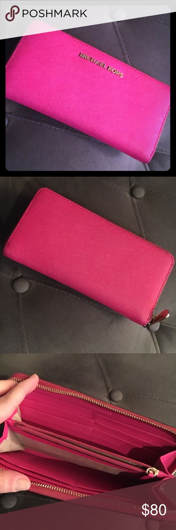 EUC Michael Kors Jet Set Wallet EUC Michael Kors Jet Set Wallet in PINK. Barely used, beautiful color! (Reasonable offers accepted!) MICHAEL Michael Kors Bags Wallets
