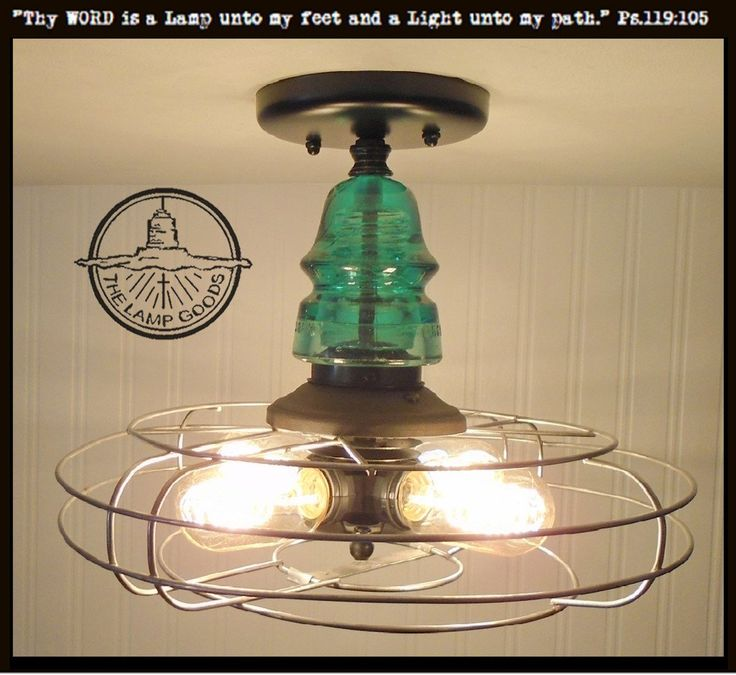 INDUSTRIAL Ceiling Light with VINTAGE Cage & TEAL Insulator