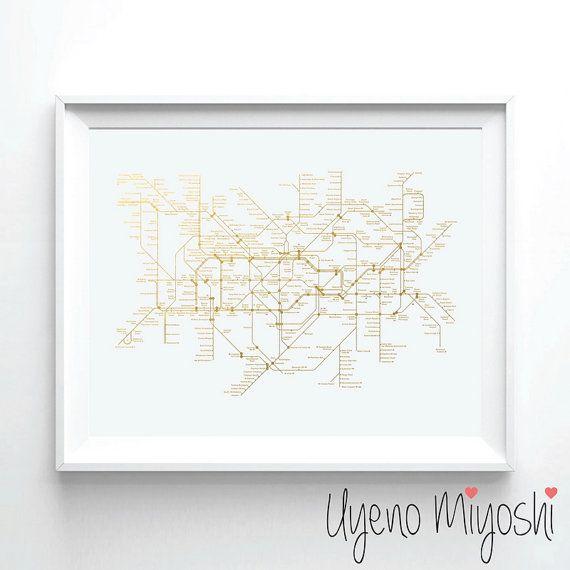 London U-Bahnnetz Blattgold Grafik Gold Print von UyenoMiyoshi