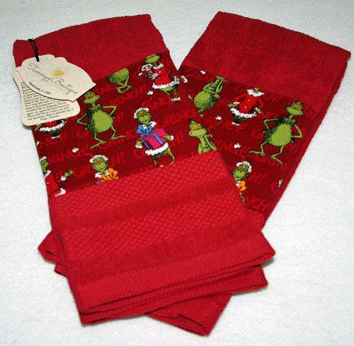 Dr Seuss Grinch Christmas Kitchen Towels Handmade Set of 2 Red | eBay