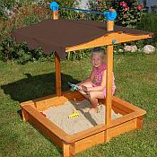 very cool sand box kit. the roof lowers down to make a cover for the sand when not in use.