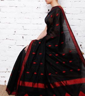 Black Chanderi Cotton Silk Saree with Resham Work