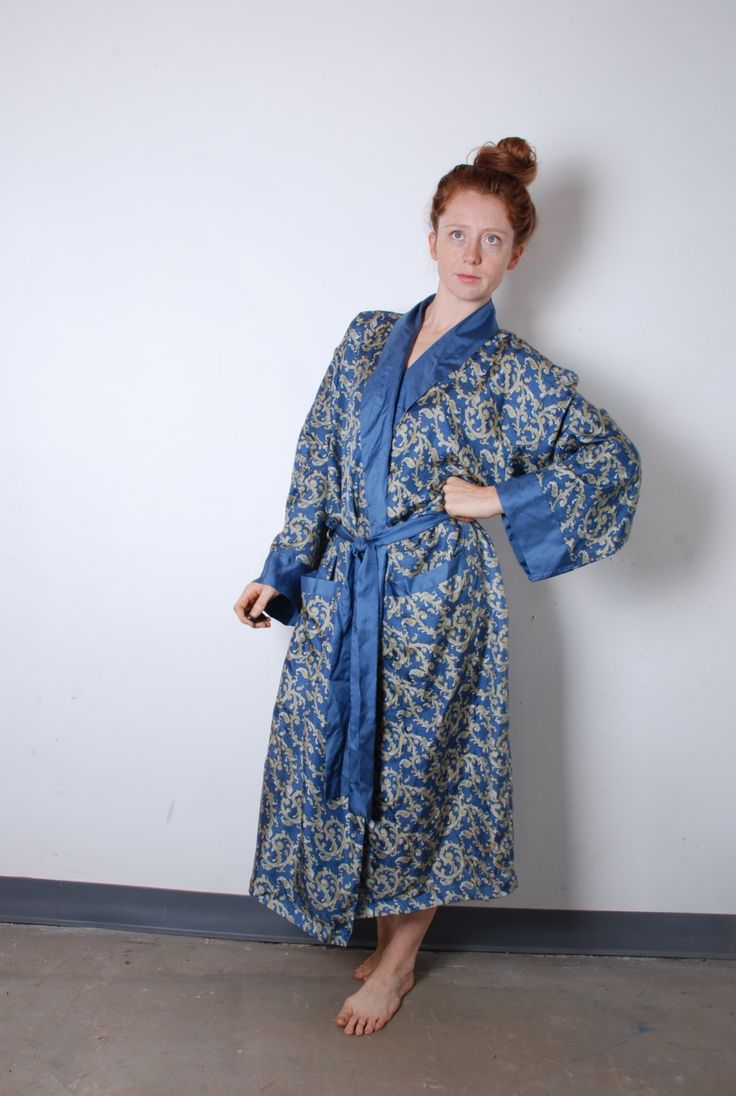 90s mens large fancy silk robe blue paisley print long sleeve Orvis pajamas house coat mens vintage clothing by furhatguild on Etsy
