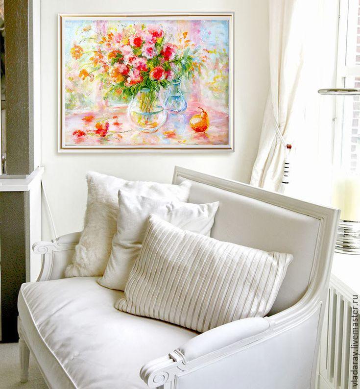 """Купить натюрморт """"Цветы на веранде"""" - нежный натюрморт, натюрморт с грушей, картина цветы груша"""