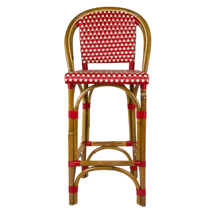 """Bordeaux & Cream Mediterranean Bistro Bar Stool with Back (26"""" h. seat) Hand-woven and artisan crafted, these French style bistro stools in bright synthetic material, will add a pop of color to your outdoor or indoor space."""