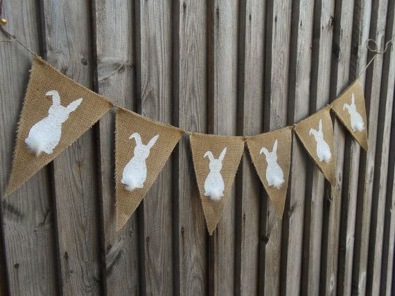 Easter Bunny Banner Easter Garland Easter Burlap by Vivicreative, $18.00