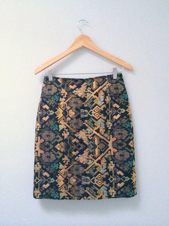 70s Brocade Mini Skirt Metallic Skirt Tapestry by MileZeroVintage
