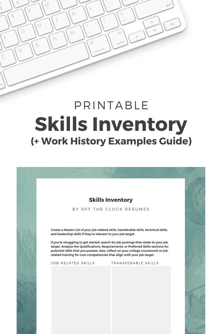 Skills Inventory | Do-it-yourself Resume in 2020 | Resume, Good resume  examples, Resume writing