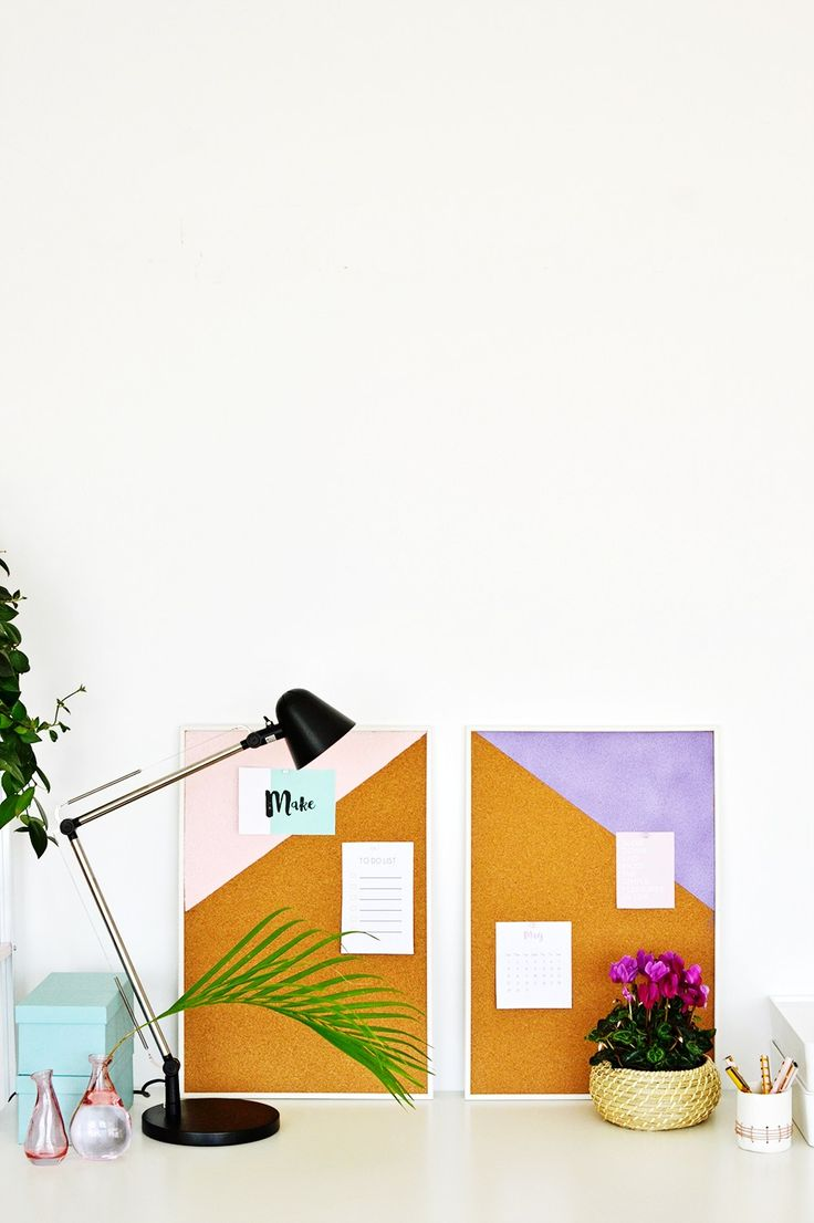 Keep Your Workspace Organized With This Easy To Make Diy Pastel Geometric Pinboards That You Can Make Over The Weekend