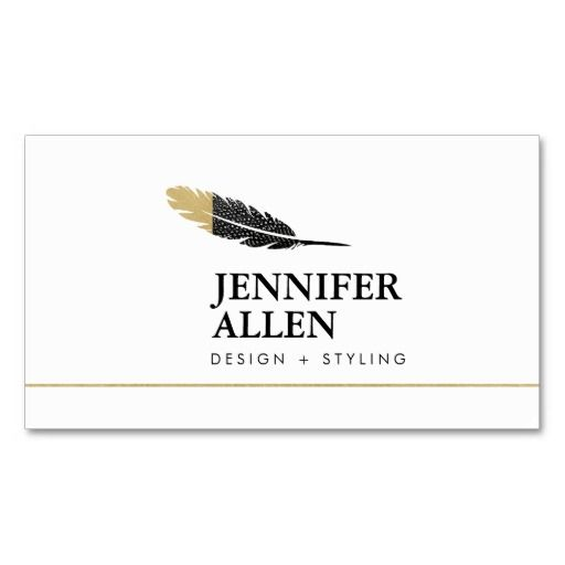 cool bohemian feather designer business card