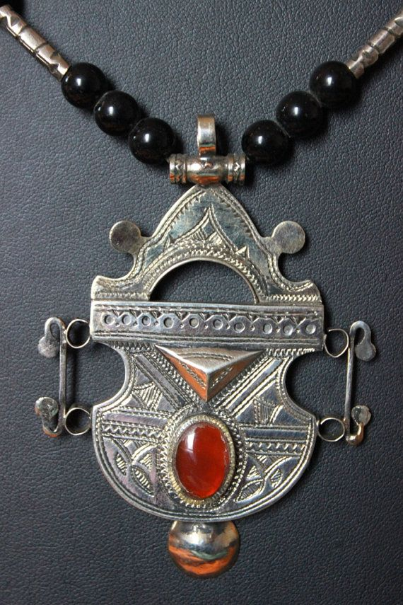 Tuareg Amulet with Carnelian stone,Tuareg Silver, Onyx beads and silvermelange beads available at TuaregJewelry.