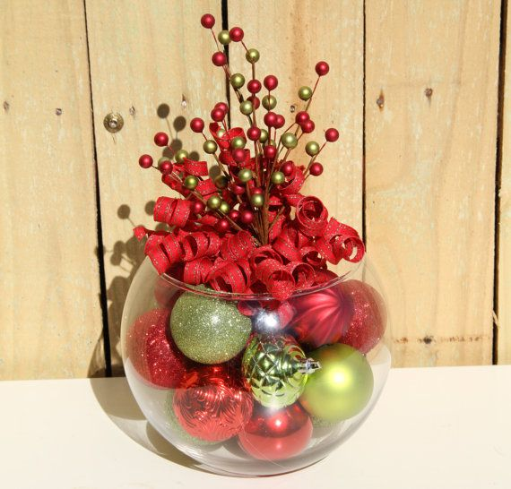 Red and Green Berries Christmas Centerpiece by GlitterGlassAndSass