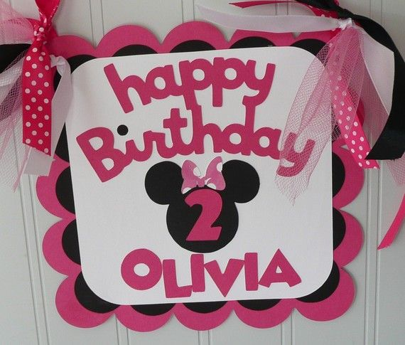 bow polka dot birthday food party theme birthday minnie mouse door sign name