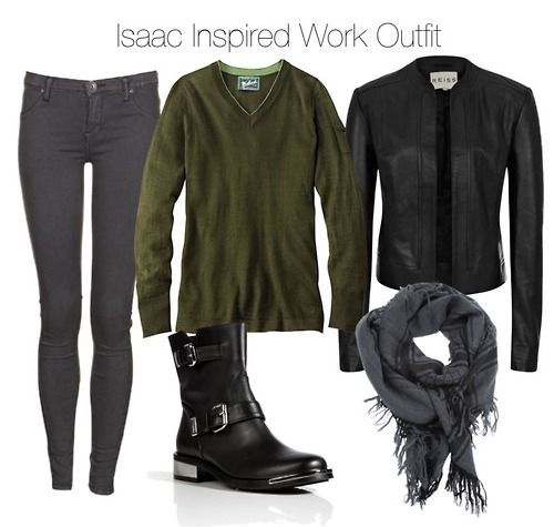 Woolrich v neck top / Reiss leather jacket / Dr. Denim skinny jeans, $68 / Le Silla black boots / Gucci