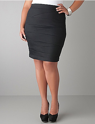 You've got the curves; you've got the confidence - now flaunt them with our sexy bandage skirt. Figure-hugging style has all the right moves with a hint of spandex for the perfect fit. Exposed zipper and hook & eye closure. Work it at the office, weekend or anytime! lanebryant.com