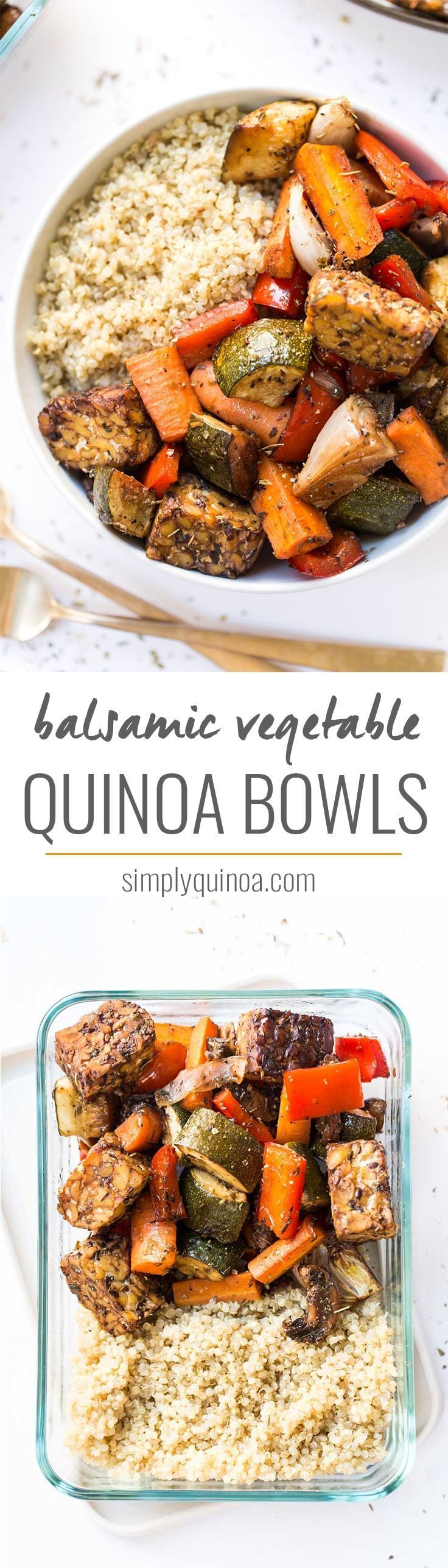 These SHEET PAN Balsamic Tempeh & Roasted Vegetable Quinoa Bowls are so easy to …