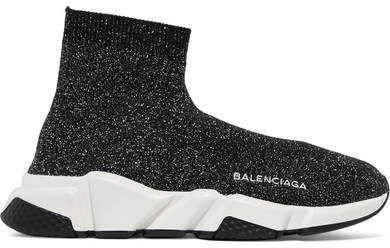 b8afd3840486 Balenciaga - Speed Logo-embroidered Metallic Stretch-knit High-top Sneakers  - Black