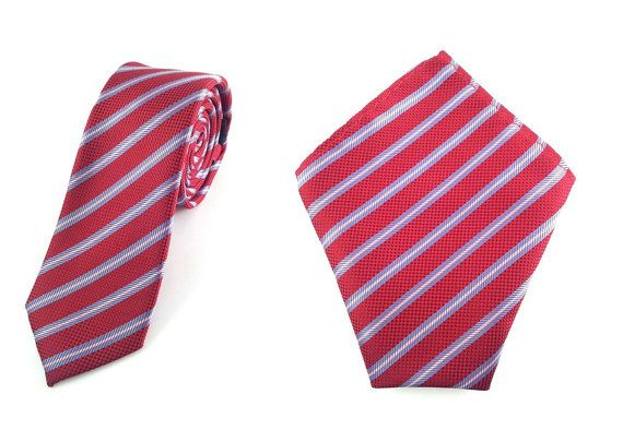 Mens Tie 6cm Maroon Stripes Checkered Skinny Tie with Pocket Square.