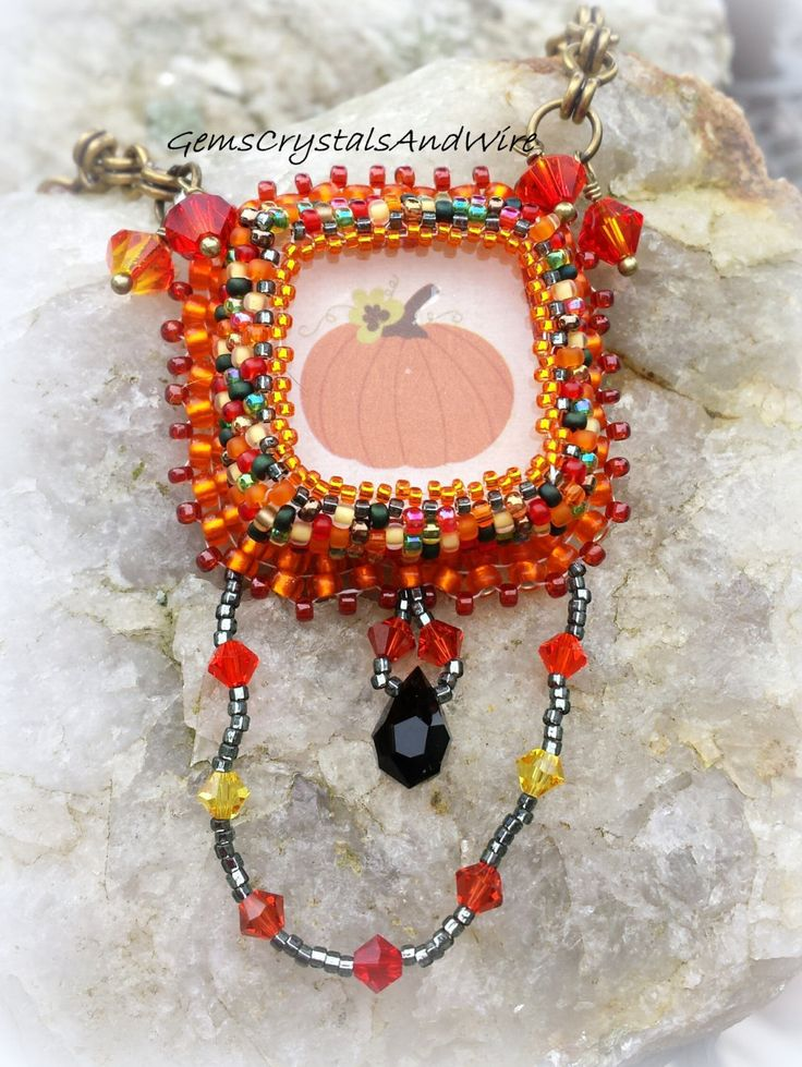 Seasonal Necklace, Autumn Necklace, Harvest Necklace, Pumpkin Necklace, Orange Necklace, Swarovski Necklace, Ladies Necklcae, Teen Necklace - pinned by pin4etsy.com