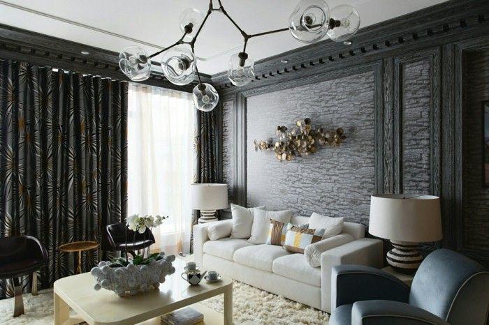 modern wohnen dunkle vorhänge und weißes sofa
