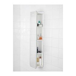 IKEA - BRICKAN, Mirror with storage unit, , Two functions in one – there are shelves behind the mirror for bottles and smaller storage boxes.Soft, rounded corners make it perfect in tight spaces where it is best to avoid sharp protruding corners.The mirror comes with safety film on the back, which reduces the risk of injury if the glass is broken.