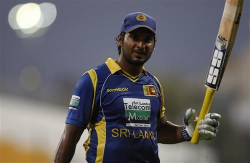 Kumar Sangakkara Sri Lankan Cricket Player with Bat in One Day Match Photos